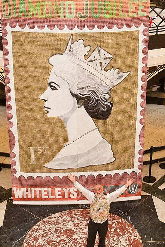 Obra de Peter Mason feita com selos.