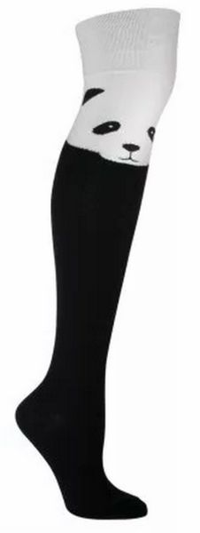 THE cutest over the knee socks - black & white with a panda face at the top!  Fits women's shoe size 5-10.
