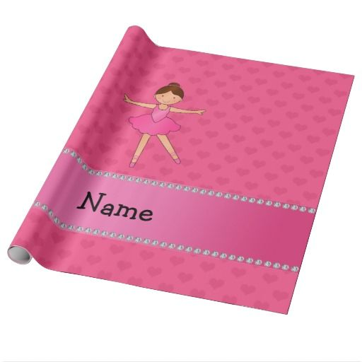 Personalized name ballerina pink hearts gift wrap