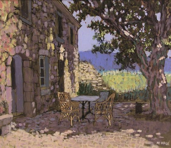 Mike Hall Tea in the shade Acrylic 29 x 35 cms £795.00: