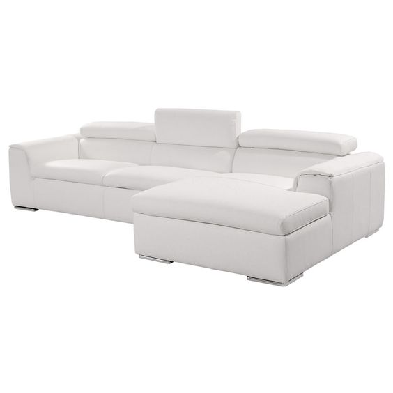 Amalfi white 117 leather sofa w right chaise new casa for Amalfi sofa chaise