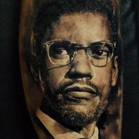 Denzel washington as malcolm x portrait by domantas for Nas malcolm x tattoo