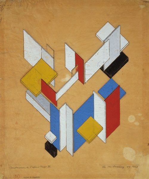 1929  - Theo van Doesburg - Construction de l ' espace, Temps III. Theo van Doesburg (Dutch pronunciation: [ˈteːjoː vɑn ˈdusbʏrx], 30 August 1883 – 7 March 1931) was a Dutch artist, who practised painting, writing, poetry and architecture. He is best known as the founder and leader of De Stijl.