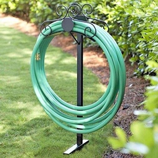 Free Standing Water Hose Holder Garden Metal Tool Stand Hanger