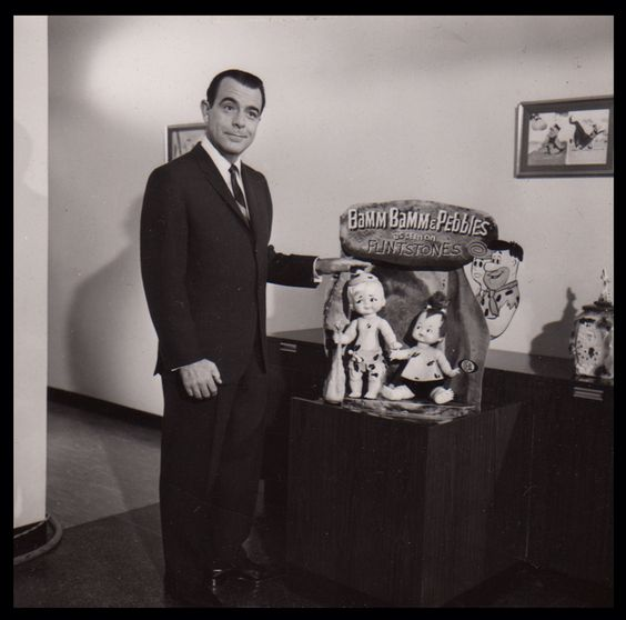 animationproclamations:  George Fennemen at Hanna-Barbera studios to lend his voice to a series of commercials for Flintstones Dolls c.1962.