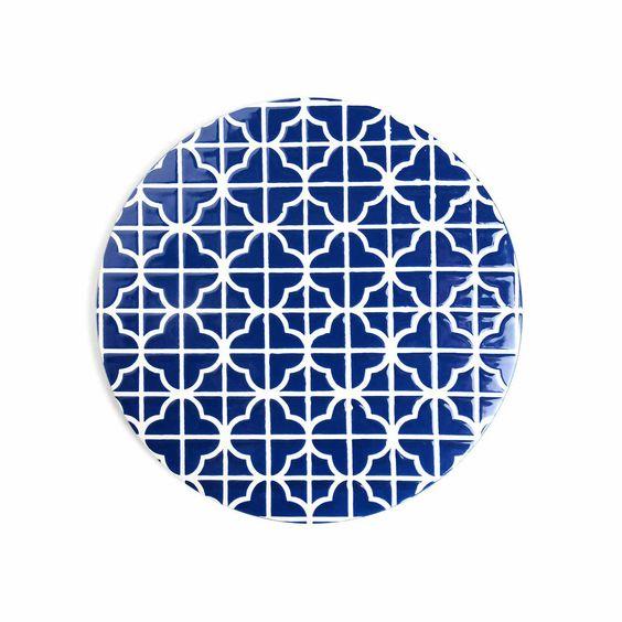 Untersetzer Steinzeug blau ca D:21 cm