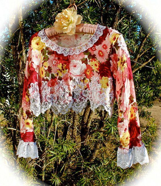Boho Romantic Roses Sweater Shrug Cropped Shabby Chic by IzzyRoo