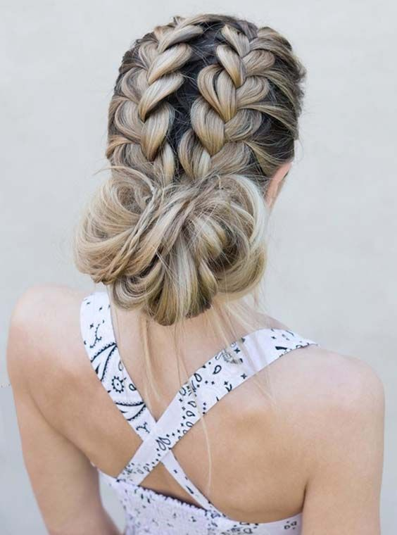 31 Gorgeous Double French Messy Bun Hairstyles For 2018 Learn By Visiting Here How To Choose The Best Hair Styles Braided Bun Hairstyles Messy Bun Hairstyles