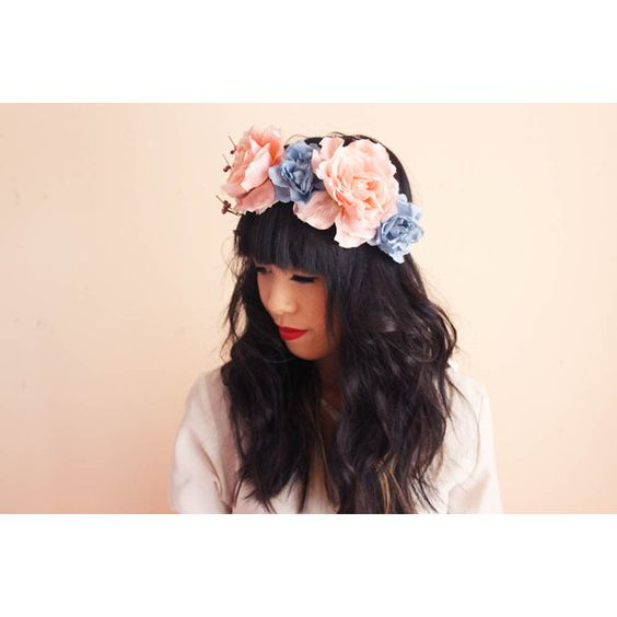 asymmetrical rose crown hair wreath - woodland forest floral hair... ($39) ❤ liked on Polyvore
