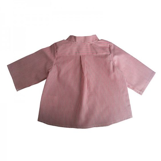 Chemise col mao GASPARD-dos-rayure rouge/blanc