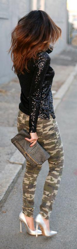 Black Sequin Blouse. street style