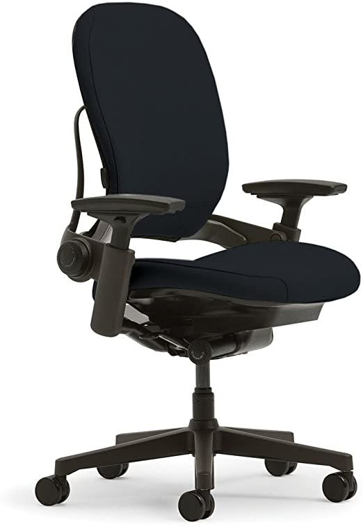 Steelcase Leap Desk Chair In Buzz2 Black Fabric Highly Adjustable Arms Black Frame And Base S Black Office Chair Chair Fabric Black Home Office Furniture