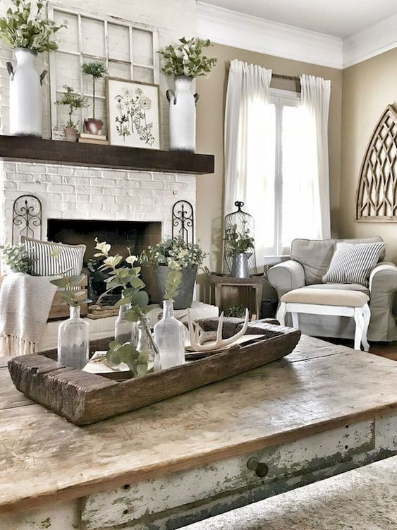 This room is harmonious with the cottage feel to it with the raw wood, and natural tones. The use of greenery throughout adds to the theme making it consistent and harmonious throughout the room.