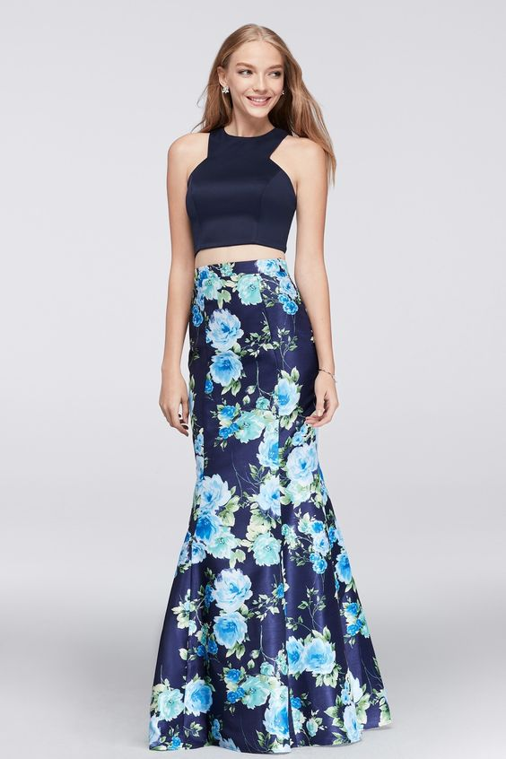 A perfect pairing of trend and timelessness, a playful Y-neck crop top is balanced by a sophisticated, floral-printed shantung mermaid skirt. | Navy and Blue Floral Prom Dress from David's Bridal