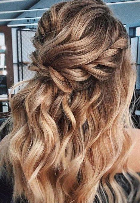 Awesome Braid For Long Caramel Hair Wedding Hair Trends Glamorous Wedding Hair Half Up Wedding Hair