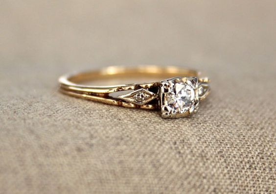 Three Stone Art Deco Diamond Engagement Ring by pebbleandpolish