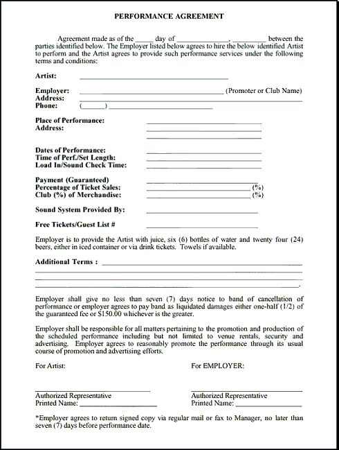 Live Performance Contract (Simple) - MusicContracts - musical - production contract template