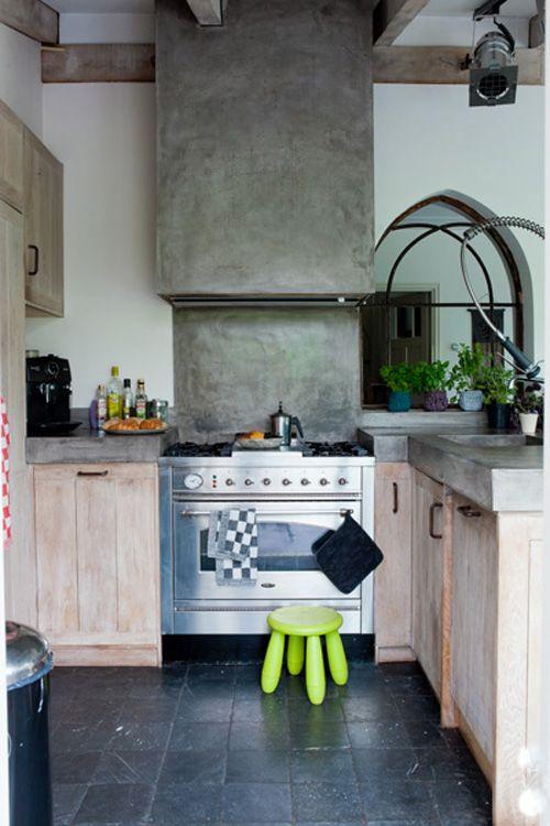 Betonlook keuken tadelakt betonlook keukenblad afgewerkt met tadelakt - Woonkeuken american ...