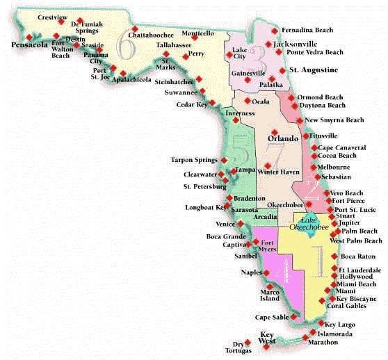 Map Of Florida Cities And Beaches florida beach vacation ...