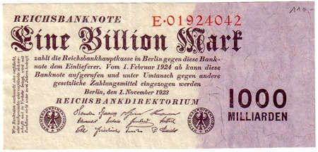 Banknotes - Germany - imperial and countries banknotes to Rosenberg - inflation 1919-1924 1 Trillion Mark, 1. 11. 1923 set E. Rosenberg 126a. III  Dealer Teutoburger Münzauktion GmbH  Auction Starting Price: 50.00 EUR