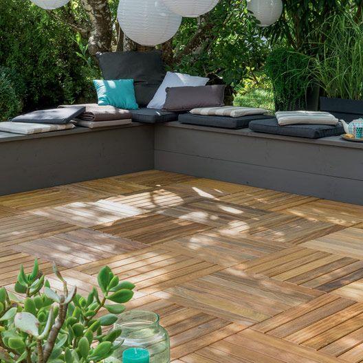 Dalle Lantawi en bois, L 50 cm x larg 50 cm x Ep 44 mm terrasse