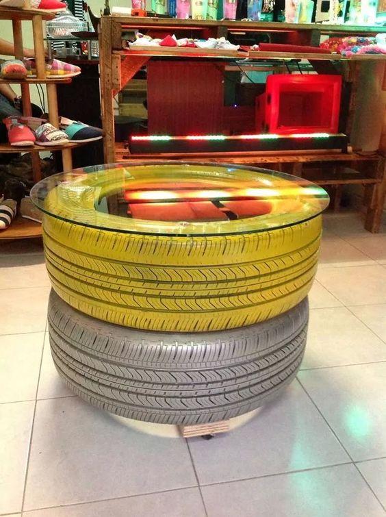 Mesa con llantas deco pinterest mesas - Mesas con neumaticos ...