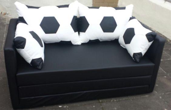 Schlafsofa 2-sitzer im Fussball Look weiß schwarz nur 130 cm breit in Möbel & Wohnen, Kindermöbel & Wohnen, Möbel | eBay