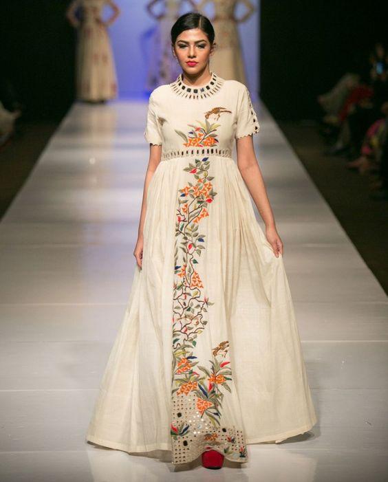 Off White Parsi Work Dress - Purvi Doshi - Designers - Purvi Doshi ...