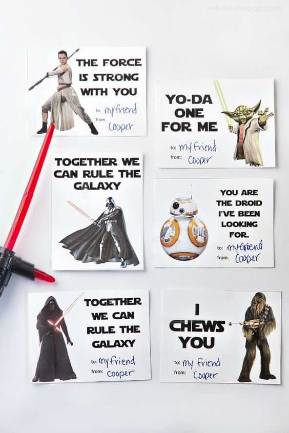 Free printable Star Wars Valentine's Day cards from Yellow Bliss Road.