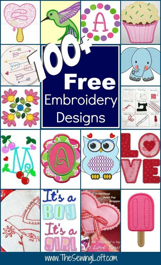 100  Free Embroidery Designs: