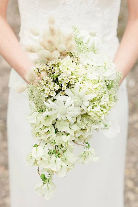 white wedding bouquet with hydrangeas