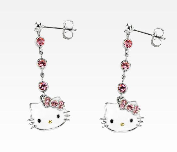 Hello Kitty Pink Swarovski Stud Drop Earrings