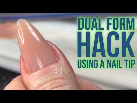 Wow Dual Form Hack Using A Nail Tip No Filing Needed Underneath Nail Tips Nail Forms Acrylic Nails At Home