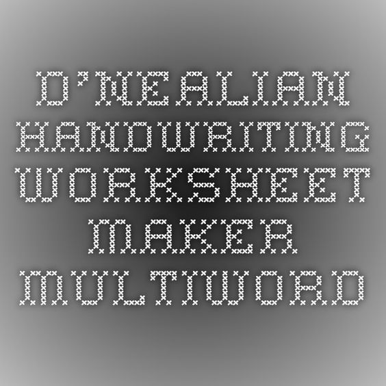DNealian Handwriting Worksheet Maker Multiword – D Nealian Handwriting Worksheet