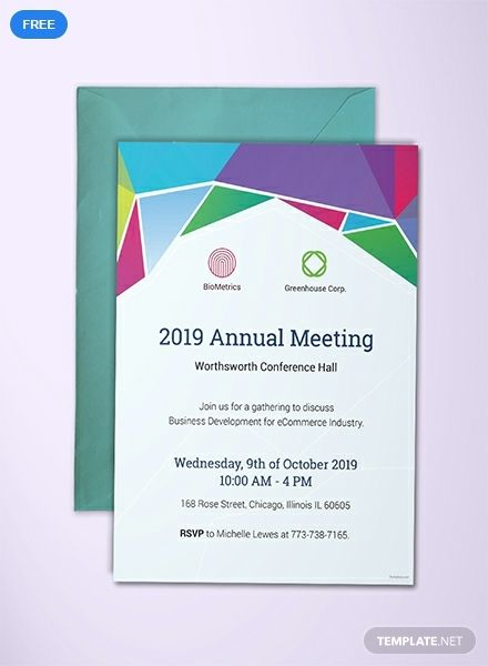 Free Annual Meeting Invitation Template Word Doc Psd Indesign Apple Mac Pages Publisher Invitation Templates Word Invitation Template Business Invitation