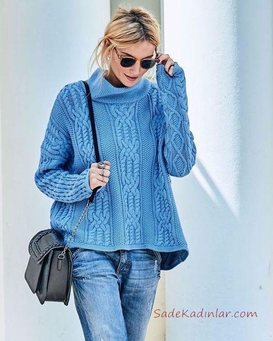 2020 Balikci Yaka Kazak Kombinleri Mavi Kot Pantolon Mavi Bogazli Desenli Kazak Suveter Desenleri Mavi Triko
