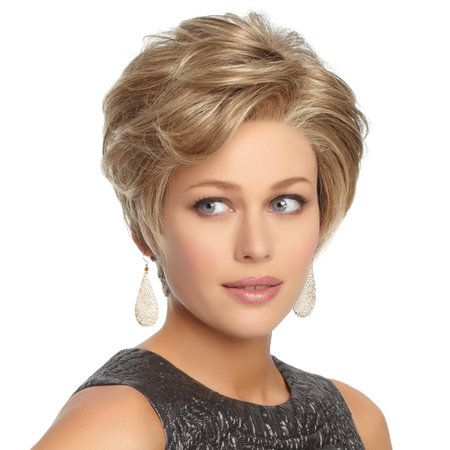 Upscale Wig - Offering generous length in the front and crown, and all over tapered layers that blend to an extended nape, this classic short cut includes a Upscale hand-knotted monofilament part for varied parting options and a sheer lace front for natural, off-the-face styling. Find this style & more @ thewigcompany.com