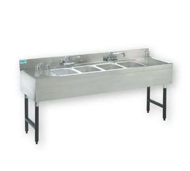 """Supreme Metal Challenger Underbar Sink four sink 48"""" long 10"""" deep - #CRB-44C    Challenger Underbar Work Board Sink Unit, with four sink compartment, 48"""" long, 21"""" wide, 10"""" deep, 2-3/4"""" deck, 4"""" splash, stainless finish w/black powder coated legs, with deck mounted faucet"""
