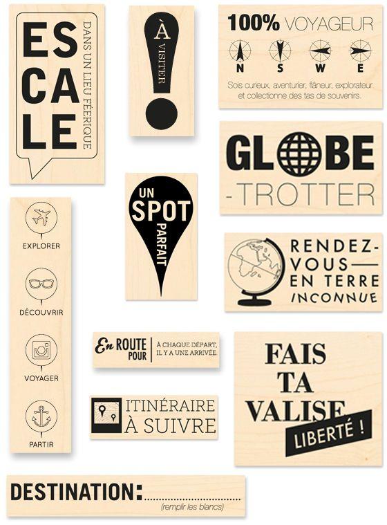Tampons bois Kesi'art - Collection globe trotter. Sortie juin 2014.