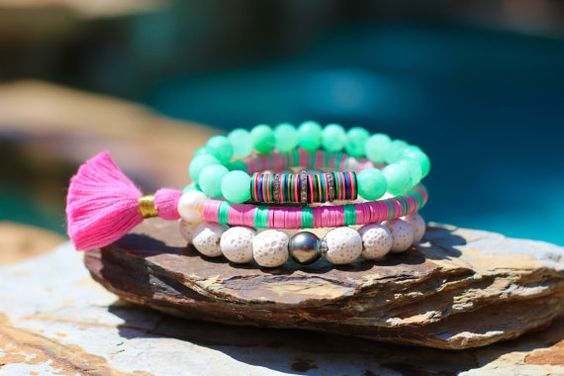 RESERVED for LIZ, Mint Green, Preppy, Vintage African Vulcanite, Upcycled…