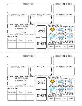 worksheet for students to complete daily during calendar time kindergarten calendar. Black Bedroom Furniture Sets. Home Design Ideas