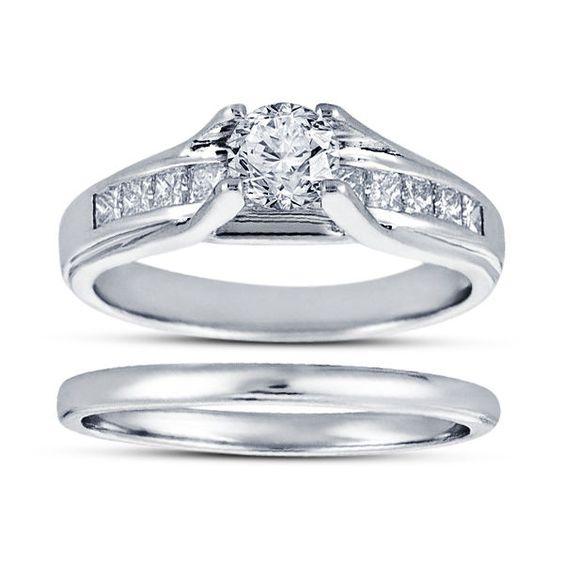 14K White Gold Filled Round D/VVS1 Diamond 925 Silver Her Bridal Ring Set SZ 7 8…