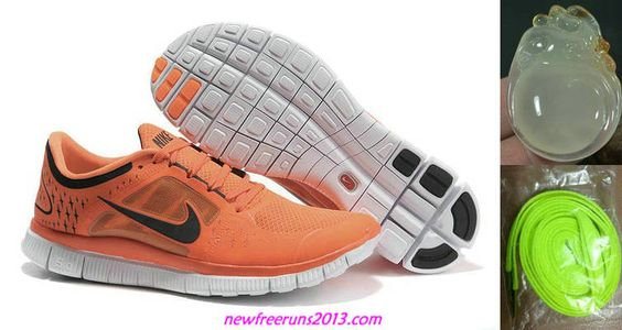 New Mens Nike Free Runs 3 Orange Black Shoes