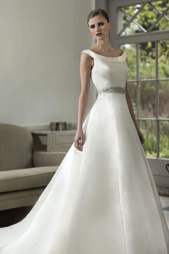 Nicki flynn beatrice stunning satin a line bridal gown for Choker neck wedding dress