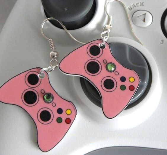 Pink Xbox360 Video Games Controller Earrings by PlayBox