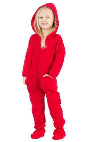 Footed Pajamas Bright Red Toddler Hoodie One Piece - Small ...