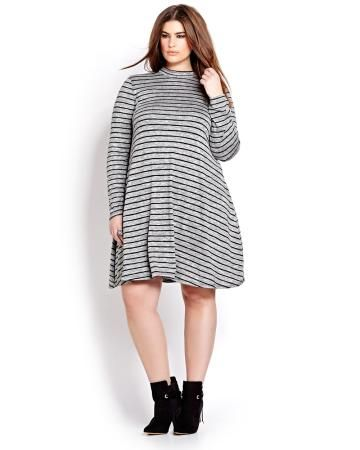 Michel Studio Long Sleeve Swing Dress -with tights and a belt