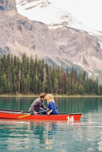 Consider an activity, rather than location, for some of your engagement photos! This couple picked canoeing (although Emerald Lake and the mountains sure make for a breathtaking backdrop.)