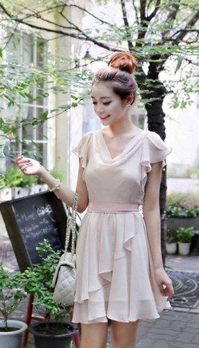 Sweet Butterfly Sleeves Cowl Neck Blush Pink Chiffon Dress. Bridesmaid