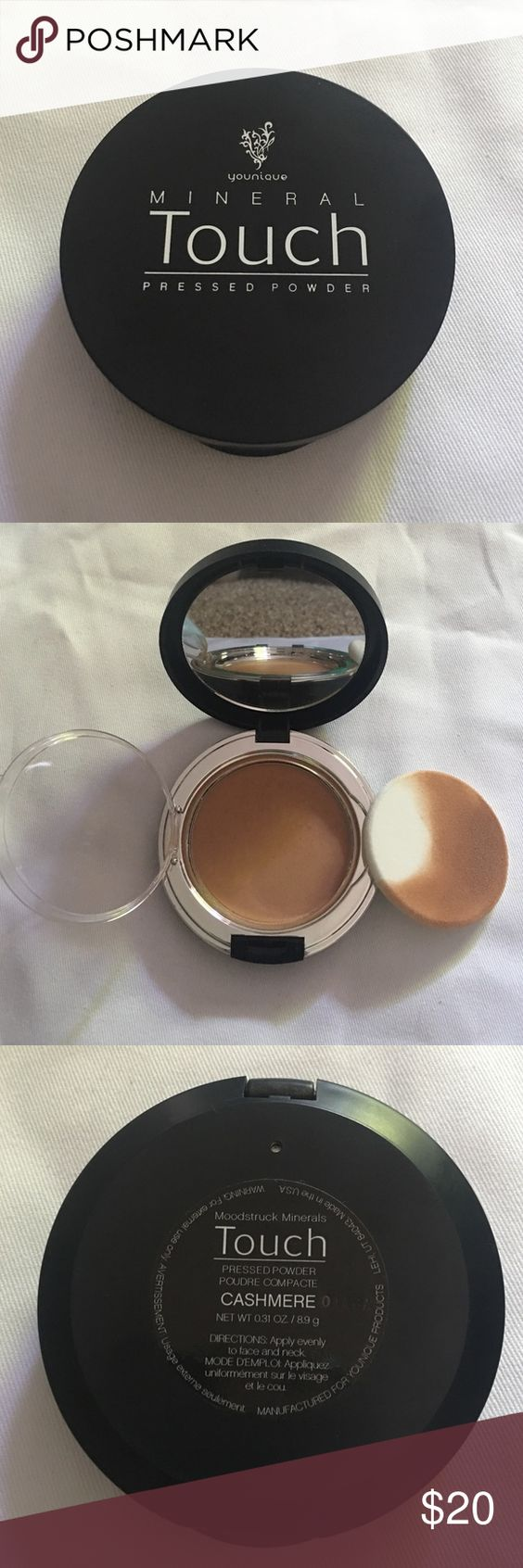 Younique Mineral Touch Pressed Powder (Cashmere) Younique Mineral Touch Pressed Powder in the color Cashmere. Opened and used only once (wasn't the right color for me). As you can see in the picture I used the sponge once to try. Do not have original box. Color currently on back order on Younique website. Younique Makeup Face Powder